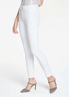 Ann Taylor High Rise Performance Denim Skinny Jeans In White