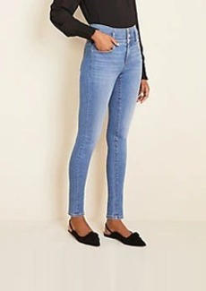 Ann Taylor High Rise Sculpting Pocket Skinny Jeans in Light Stone Wash