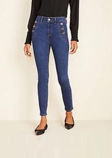 Ann Taylor High Waist Skinny Sailor Jeans in Bright Indigo Wash