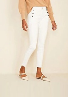 Ann Taylor High Waist Skinny Sailor Jeans in White
