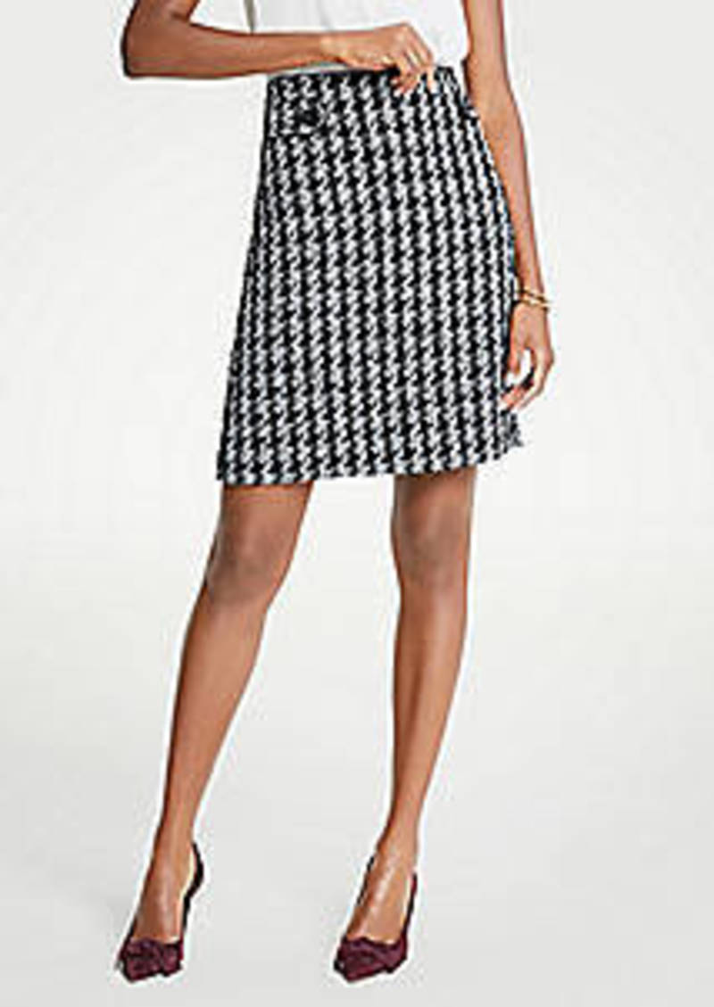 Ann Taylor Houndstooth Button Tab A-Line Skirt