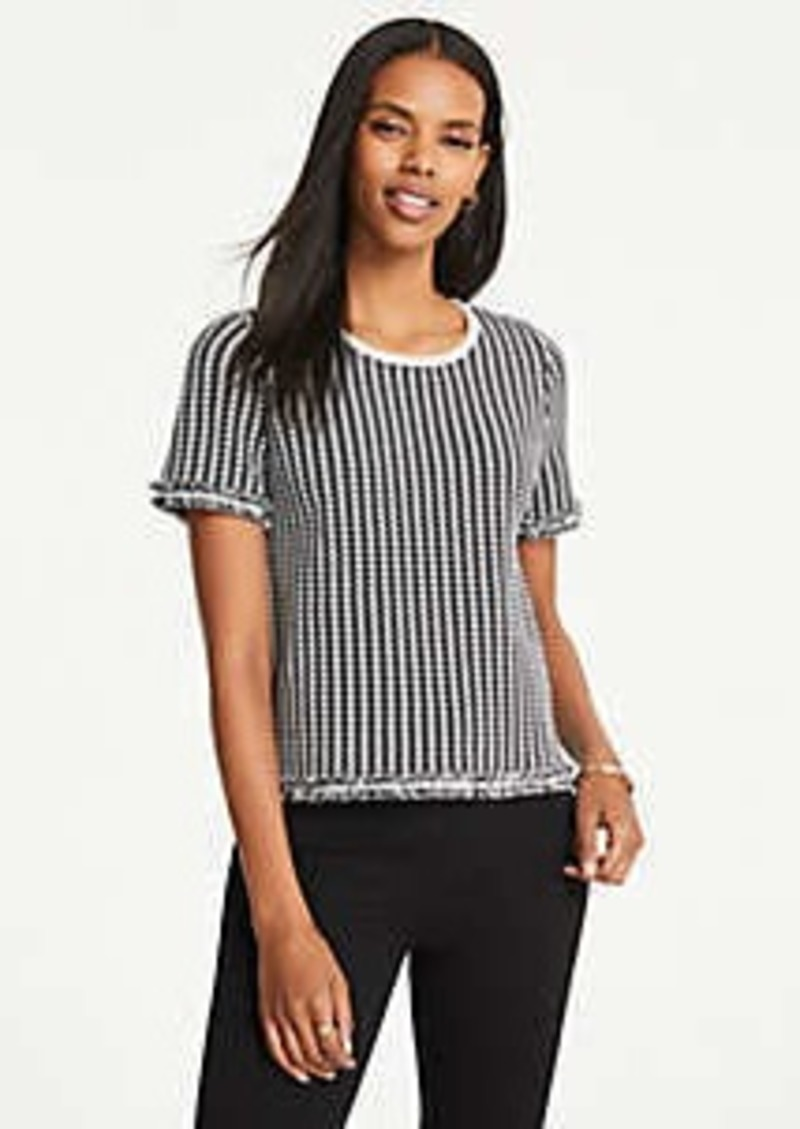 Ann Taylor Houndstooth Fringe Sweater Tee