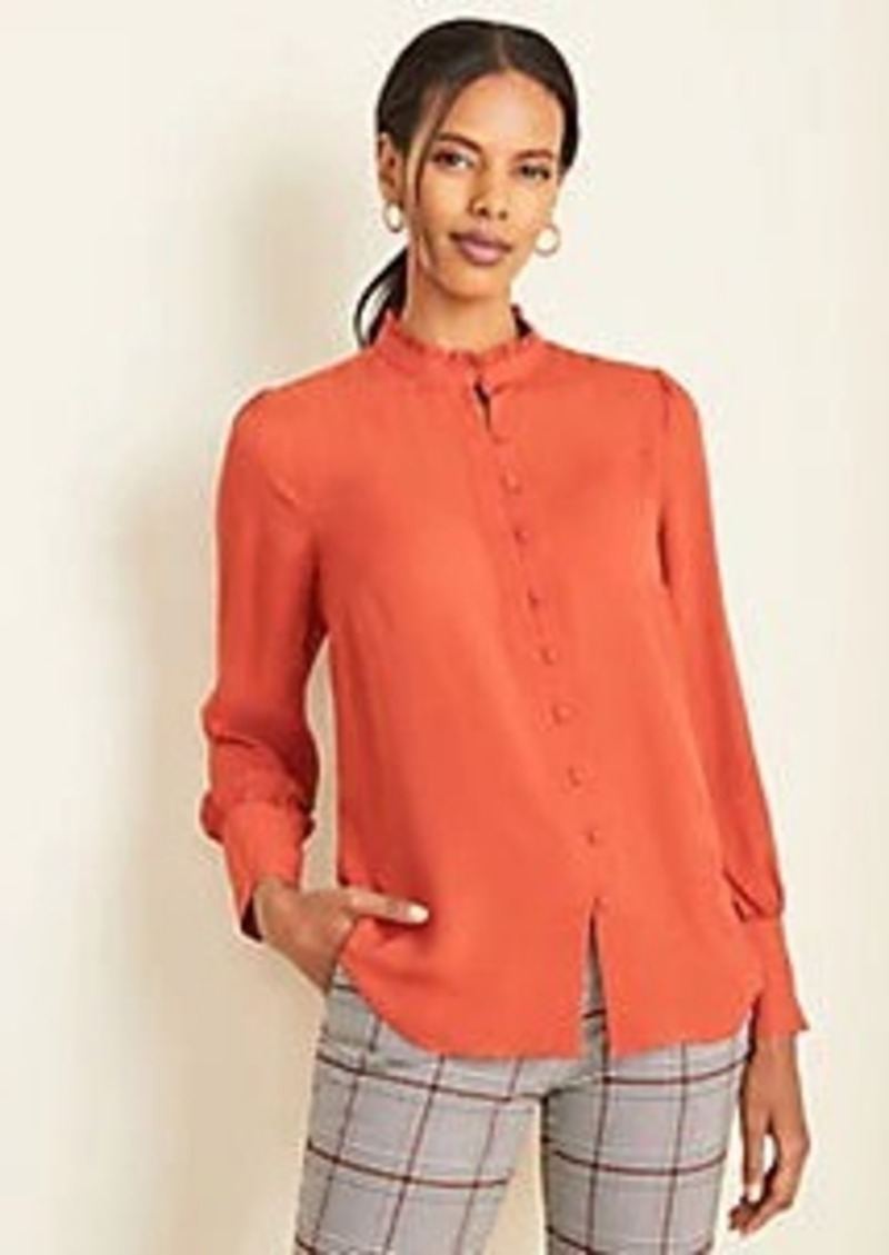 Ann Taylor Houndstooth Jacquard Ruffle Neck Blouse