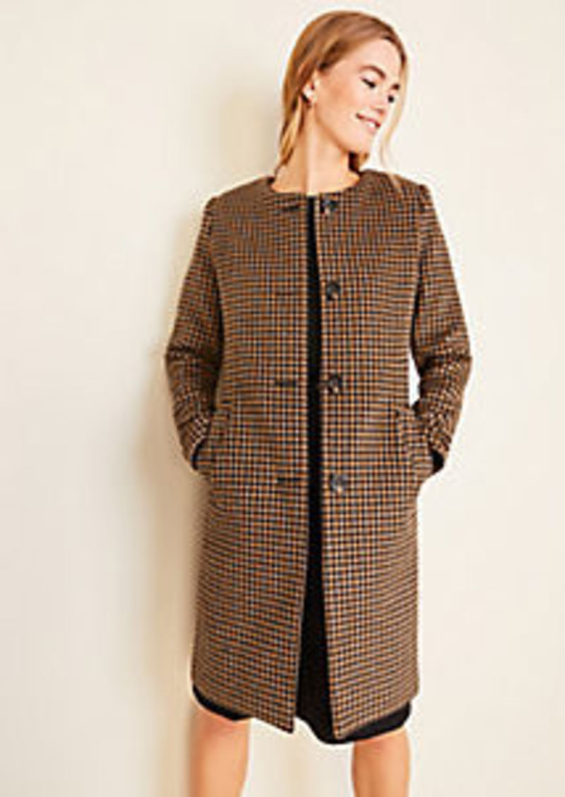 Ann Taylor Houndstooth Jewel Neck Coat