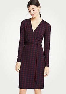 Ann Taylor Houndstooth Matte Jersey Wrap Dress