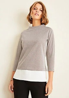 Ann Taylor Houndstooth Mixed Media Top