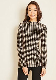 Ann Taylor Houndstooth Mock Neck Sweater