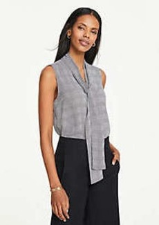 Ann Taylor Houndstooth Plaid Bow Neck Button Down Shell