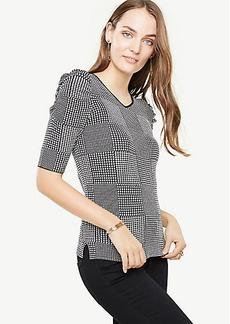 Ann Taylor Houndstooth Puff Sleeve Double V Sweater