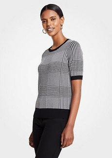 Ann Taylor Houndstooth Short Sleeve Sweater