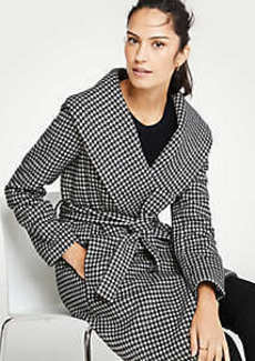 Ann Taylor Houndstooth Shawl Collar Wrap Coat