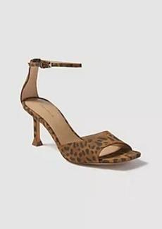 Ann Taylor Imogen Leopard Print Suede Square Toe Sandals
