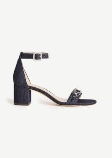 Ireland Denim Stone Block Heels
