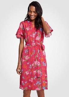 Ann Taylor Island Floral Flutter Sleeve Shirtdress