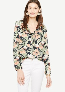 Island Floral Ruffle Tie Neck Blouse