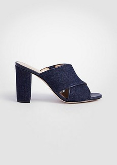 Ann Taylor Jeanette Denim Heeled Mule Sandals