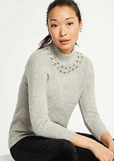 Ann Taylor Jeweled Mock Neck Sweater