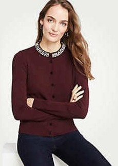 Ann Taylor Jeweled Neck Ann Cardigan