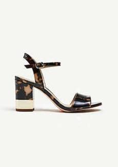 Ann Taylor Joann Tortoiseshell Print Patent Leather Heeled Sandals