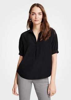 Ann Taylor Johnny Collar Short Sleeve Top