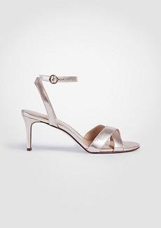 Judith Metallic Leather Kitten Heeled Sandals