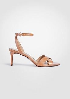 Ann Taylor Judith Patent Leather Kitten Heeled Sandals