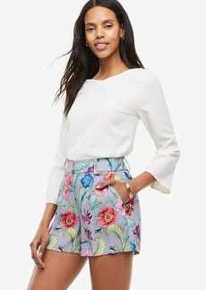 Ann Taylor Jungle Floral Pleated Shorts
