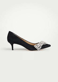 Ann Taylor Keira Crystal Pearlized Crystal Bow Suede Pumps