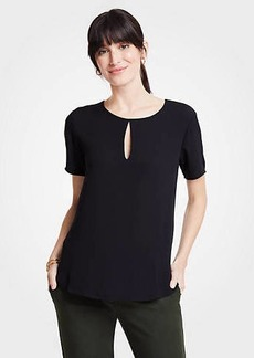 Ann Taylor Mixed Media Keyhole Tee