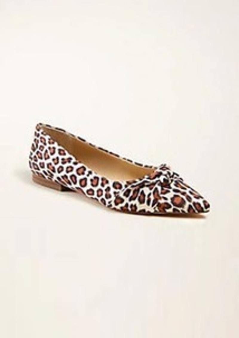 Ann Taylor Kimmy Leopard Print Knot Bow Flats