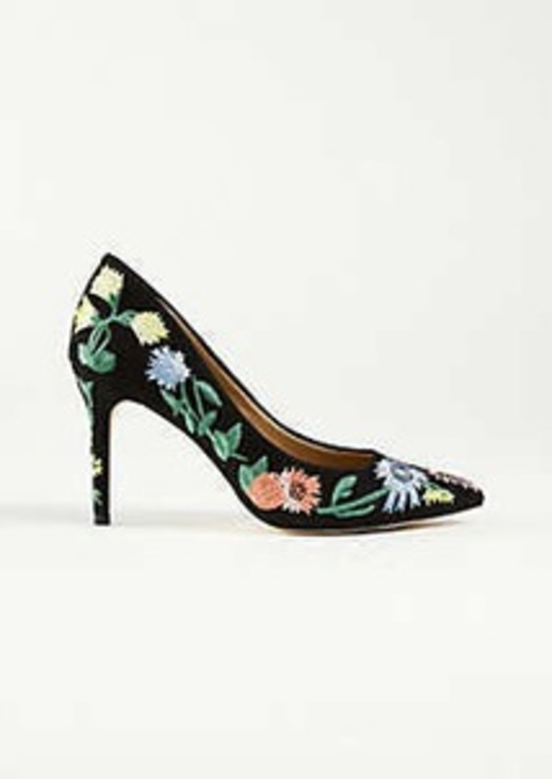 54060f5f4aa Ann Taylor Kit Garden Embroidered Suede Pumps