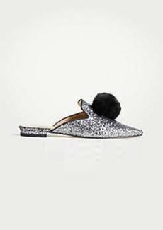 Ann Taylor Kitt Pom Pom Sequin Slides
