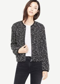 Ann Taylor Knit Tweed Bomber Jacket