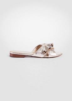 Ann Taylor Krissy Metallic Leather Ruffle Slide Sandals