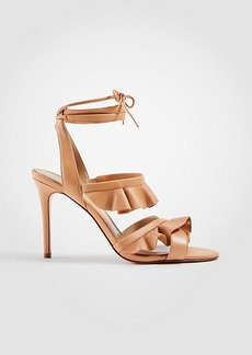 Ann Taylor Kristin Leather Ruffle Heeled Sandals