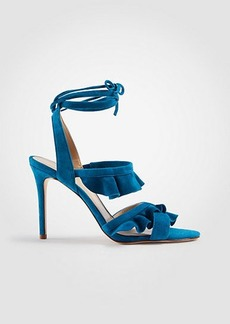 Ann Taylor Kristin Suede Ruffle Heeled Sandals