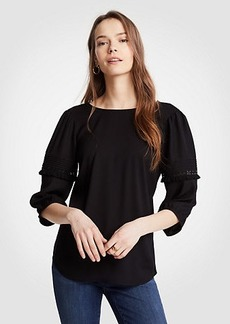 Lace Inset Ruffle Sleeve Top