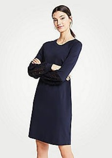 Ann Taylor Lace Lantern Sleeve Dress