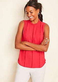 Ann Taylor Lace Pintucked Ruffle Shell