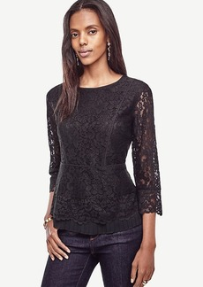 Ann Taylor Lace Pleated Peplum Top