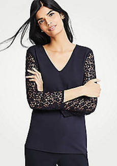 Ann Taylor Lace Sleeve Ponte Top