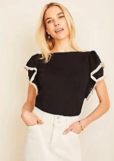 Ann Taylor Lace Trim Ruffle Sleeve Sweater