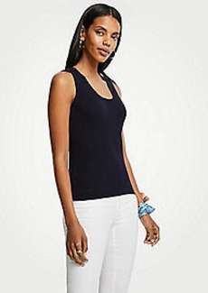 Ann Taylor Lace Trim Scoop Neck Sweater Tank
