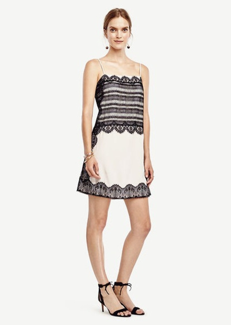 Ann Taylor Lace Trim Slip Dress