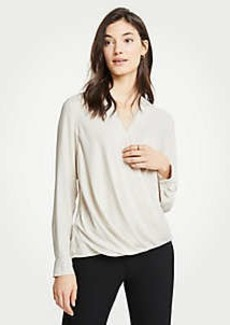 Ann Taylor Lace Trim Wrap Blouse