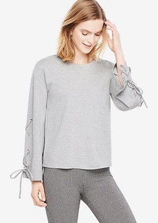 Ann Taylor Lace Up Bell Sleeve Top