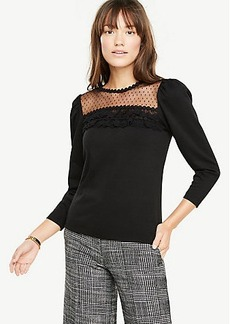Ann Taylor Lace Yoke Puff Sleeve Top