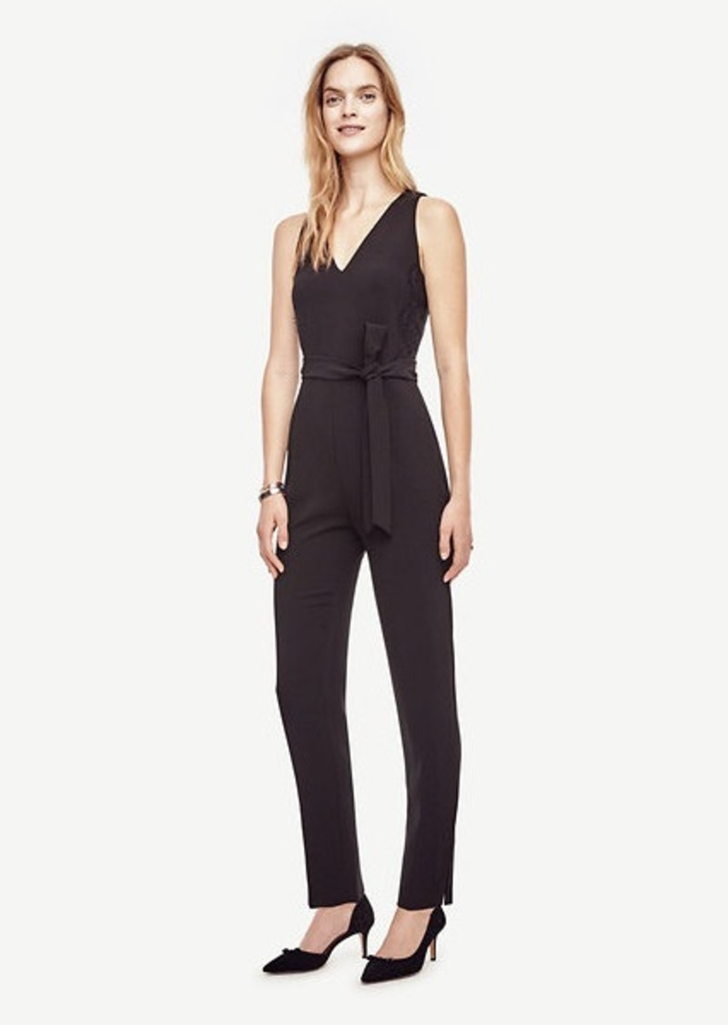 Ann Taylor Lacy Belted Jumpsuit
