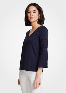 Ann Taylor Lacy Flare Sleeve Top