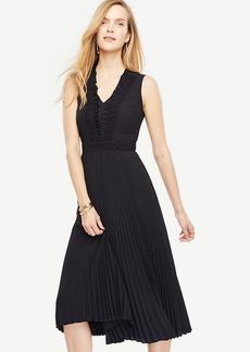 Ann Taylor Lacy Pleated Midi Dress
